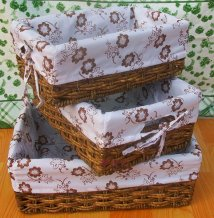 Hand Woven Straw Storage Baskets / Bins / Containers Set