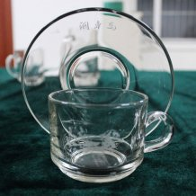 Engraved Glass Tea Cup Set, Coffee Cup with Ancient Chariot Horse