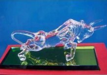 Personalized Engraved Optical Crystal Bull Award / Gift