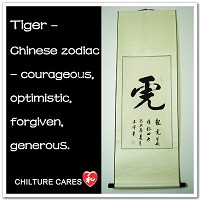 Tiger Chinese Zodiac Symbol Calligrahpy Wall Scroll