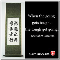 Going Gets Tough Tough Get Going Chinese Calligraphy Scroll