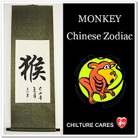 Monkey Chinese Zodiac Symbol Calligraphy Wall Scroll