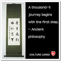 Journey Begins with First Step Chinese Calligraphy Scroll