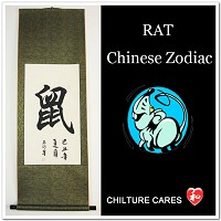 Rat Chinese Zodiac Symbol Calligraphy Wall Scroll