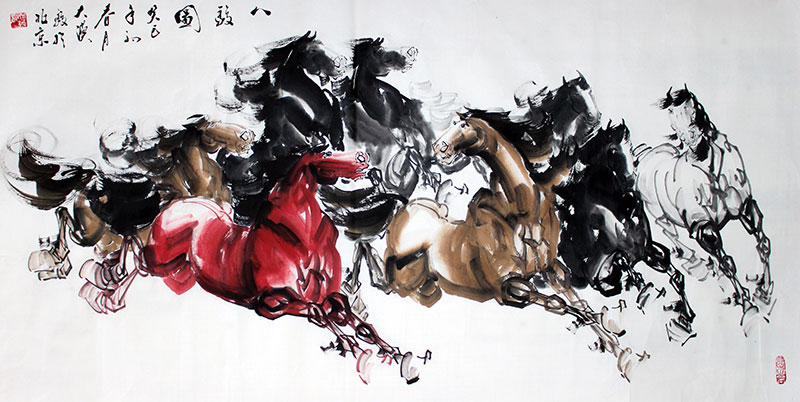 Original Chinese 8 Horses Painting Wall Art : Chinese Calligraphy ...