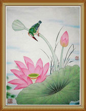 Lotus and Bird Original Chinese Painting Wall Art