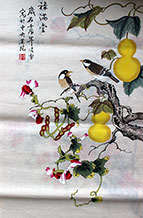 Fortune and Prosperity Chinese Birds Painting Wall Scroll