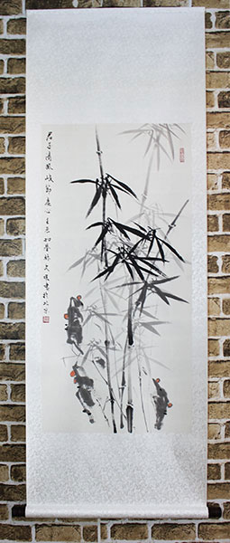 chinese bamboo painting wall scroll