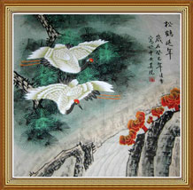 Longevity Original Chinese Crane Art Painting