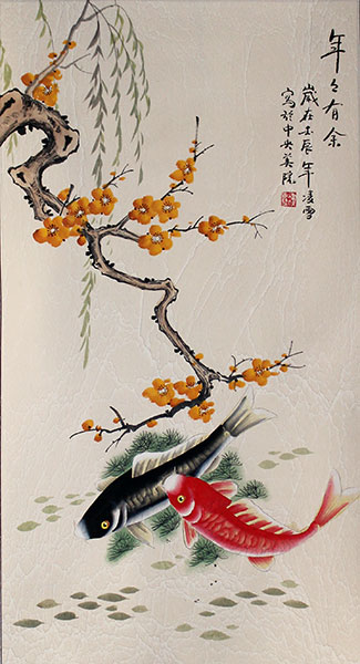 chinese fish flowers painting art