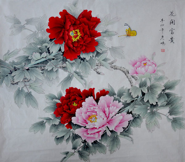 chinese flower paintings peony