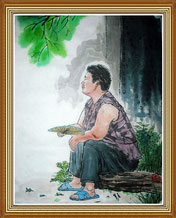 Aunt Original Chinese Figure Painting Wall Art Work