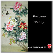 Fortune Original Chinese Peony Painting Wall Scroll