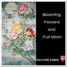 Blooming Flowers Full Moon Original Chinese Painting Wall Scroll