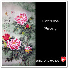 Fortune Original Chinese Peonies Painting Wall Scroll