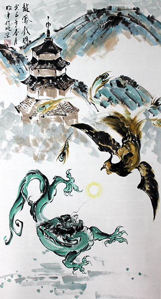 chinese dragon phoenix paintings artwork wall scroll