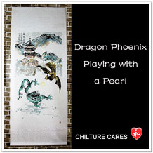 Dragon Phoenix Large Chinese Painting Art Wall Scroll