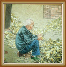 Father is Husking Corn Original Chinese Painting Wall Art