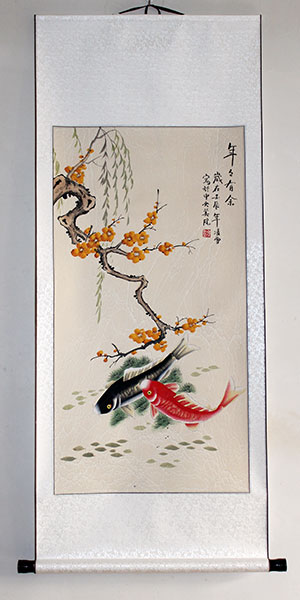 chinese fish painting art wall scroll
