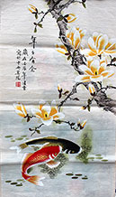 Abundance Original Koi Fish and Flower Painting Wall Scroll