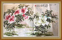 Harmonious and Agreeable Chinese Flowers Painting Wall Art