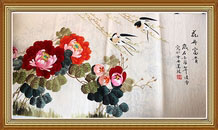 Rich Blossoming Chinese Birds Flowers Painting Wall Art