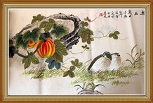 Happy Living and Working Chinese Bireds Painting Wall Art