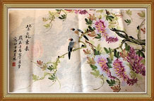 Zi Qi Dong Lai Chinese Birds Flowers Painting Wall Art