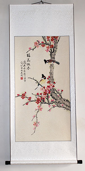chinese flowers painting art wall scroll