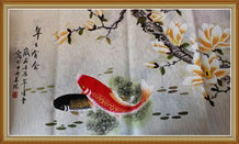 Original Chinese Koi Fish Art and Flower Painting