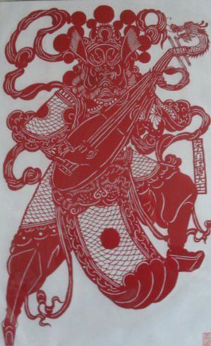 chinese paper cuts art god