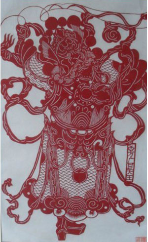 chinese paper cutting art god