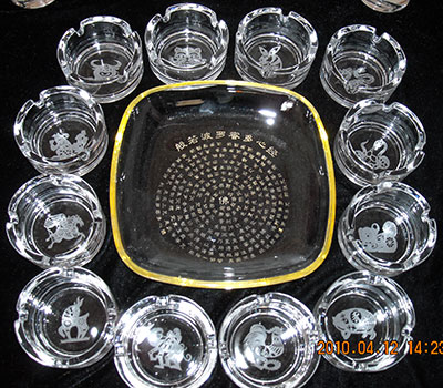 chinese zodiac sign engraved glass ashtrays