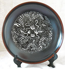 engraved porcelain plate dragon