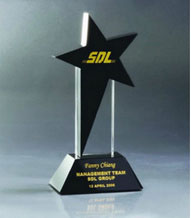 Engraved Black Crystal Star Award on Black Crystal Base