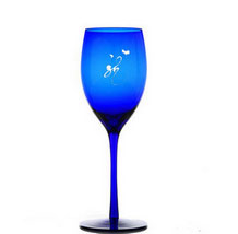 Personalized Engraved Blue Crystal Wine Glass / Goblet