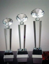 Personalized Engraved Crystal Diamond Award on Black Base
