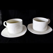 Engraved Ceramic Coffee Cup Set of 2, Tea Cup with Heart