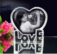 Personalized Engraved 2d Photo Crystal Wedding Gift / Heart