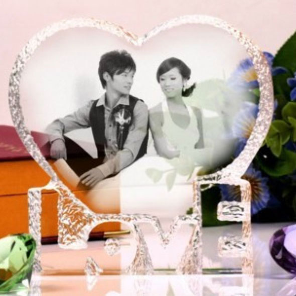 Personalized Engraved 2d Photo Crystal Wedding Gift Heart