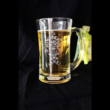 Personalized Engraved Beer Glass / Beer Mug with Flower