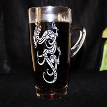 Engraved Dragon Glass Mug / Beer Mug