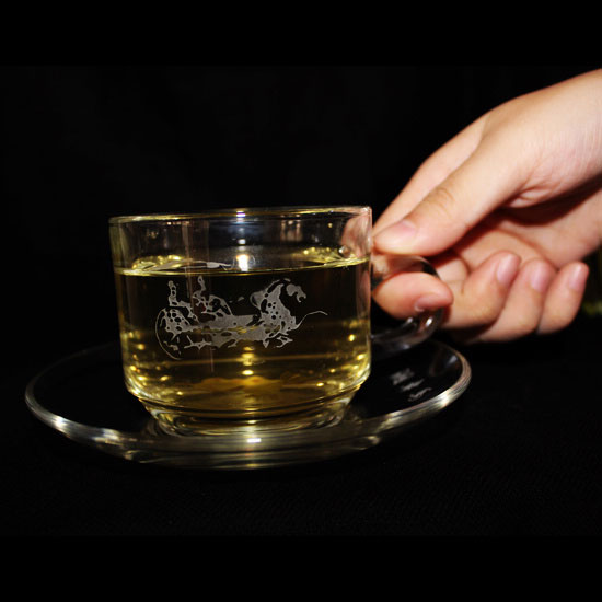 Engraved Glass Tea Cup Set, Coffee Cup with Ancient Chariot Horse ...
