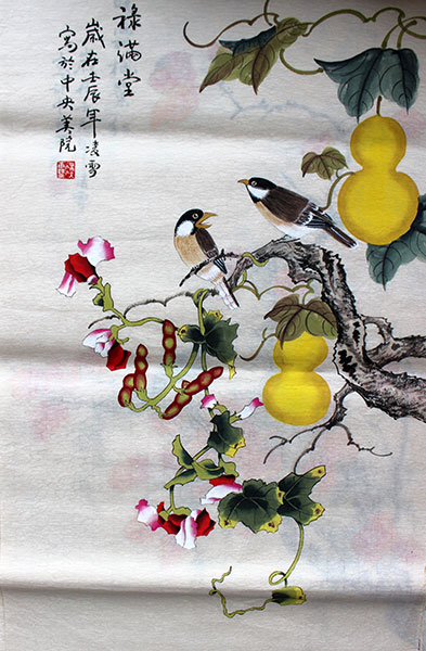 original Chinese paintings of birds wall scroll for sale