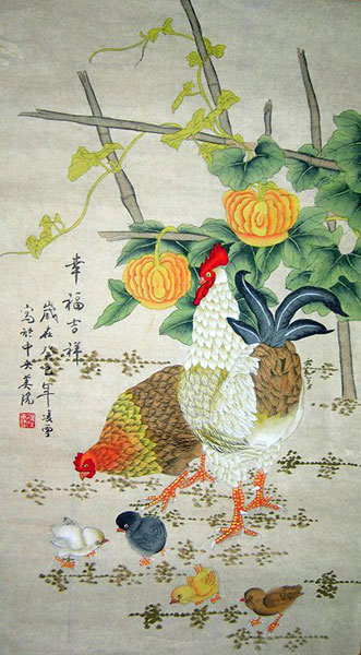 Chinese chicken paintings artwork scroll for sale