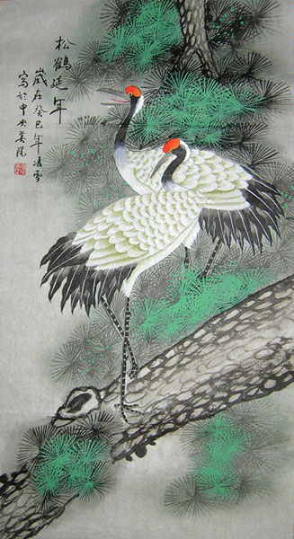 chinese crane painting artwork wall scroll