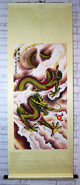 chinese dragon artwork scroll, dragon paintings for sale