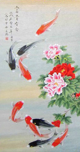 Rich original nine koi fish painting wall scroll chinese calligraphy art for sale online oil for Chinese coy fish