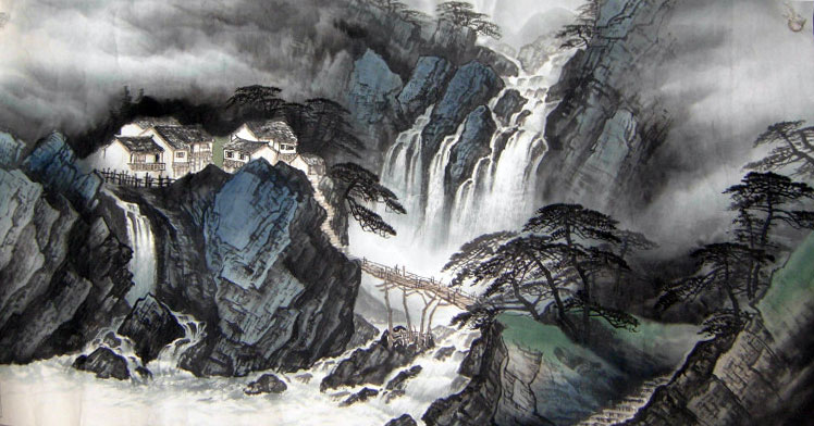 Retreat away from the world Chinese Landscape Paintings art