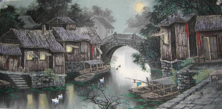 Bridge River Home Chinese Landscape Paintings art